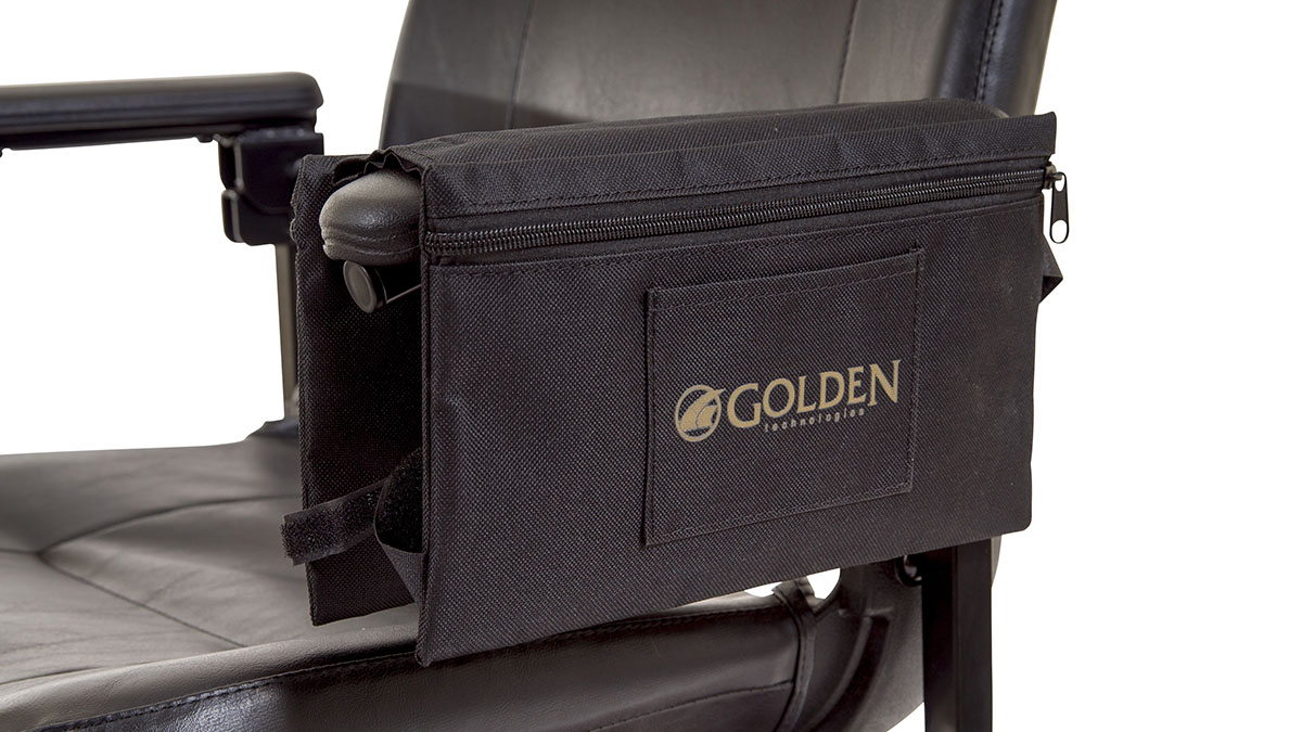 Golden Armrest Bag Accessory For Scooter And Power Wheelchairs