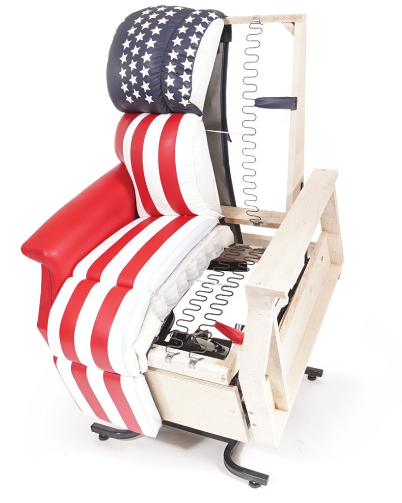 Half Golden Power Lift Recliner in U.S. flag design