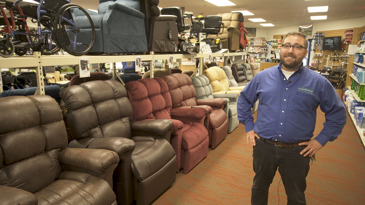 Alex Anderson with Golden lift recliners at Oswalds Pharmacy