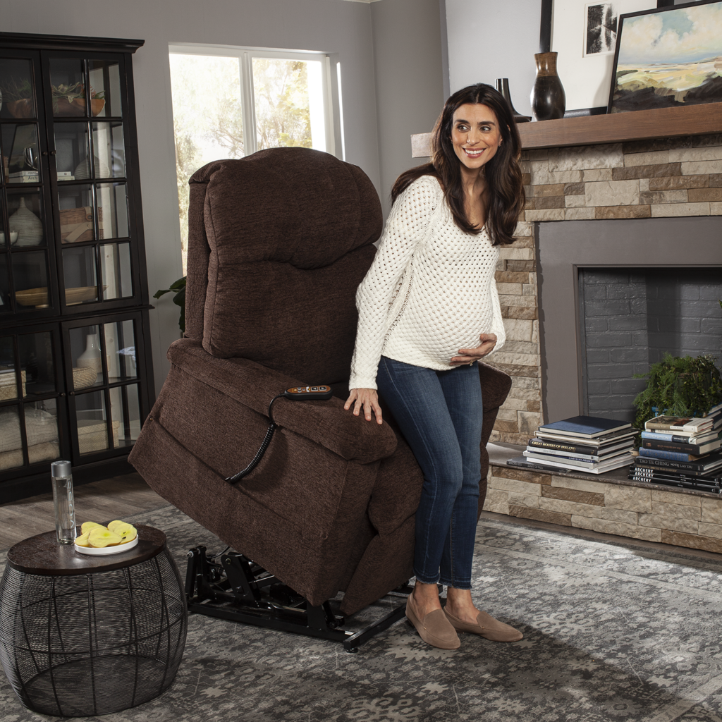 Golden Power Lift Chair Recliner Helping Pregnant Woman Out of Chair