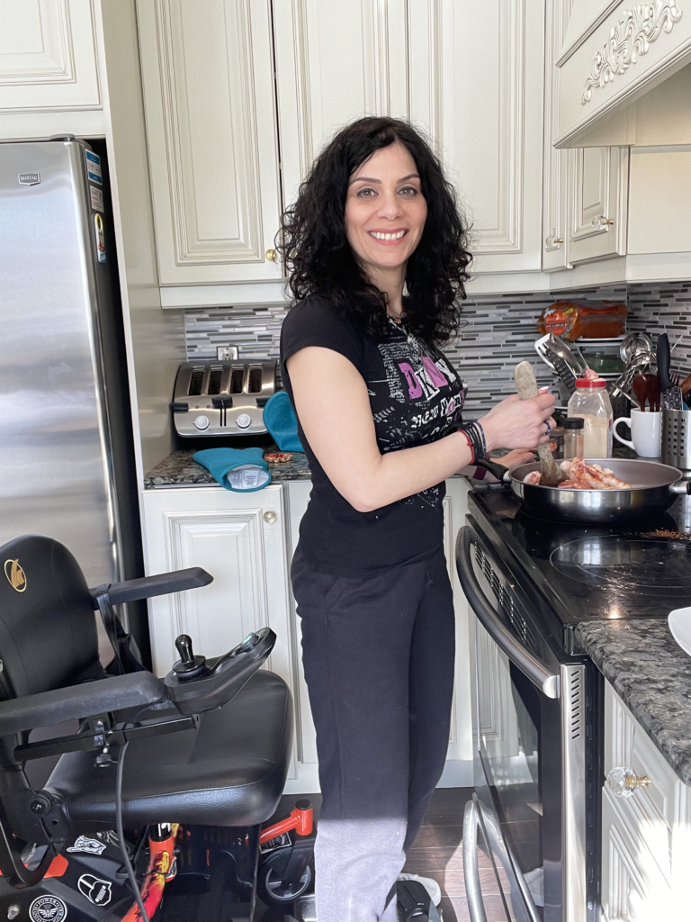 Anna Giannakouros Cooking with support from Golden Technologies LiteRider Envy Power Wheelchair