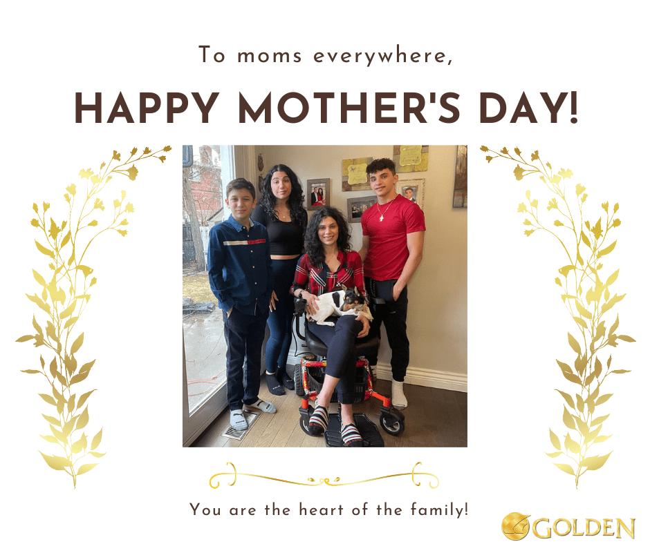Anna on her Golden LiteRider Envy Power Wheelchair with her Children
