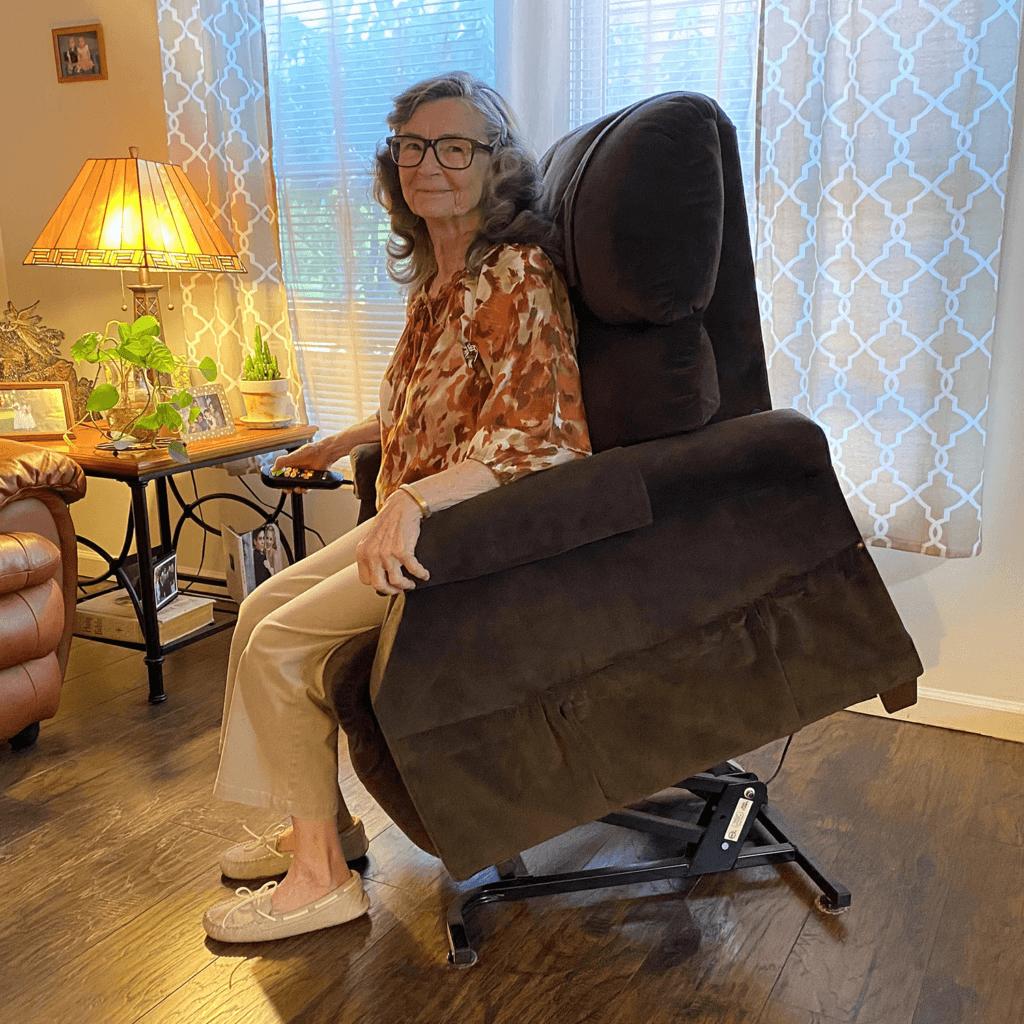 Joan Garrison Lifting in a Golden Technologies Power Lift Chair Recliner