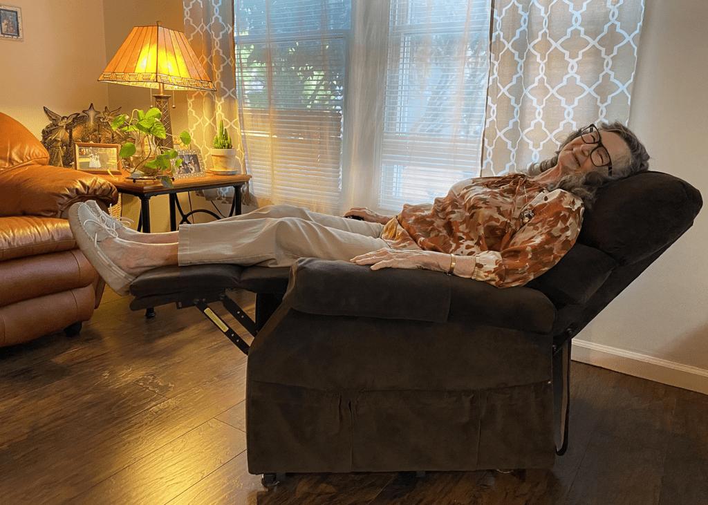 Joan Garrison Relaxing in a Golden Technologies Power Lift Chair Recliner To Help Relieve Arthritis