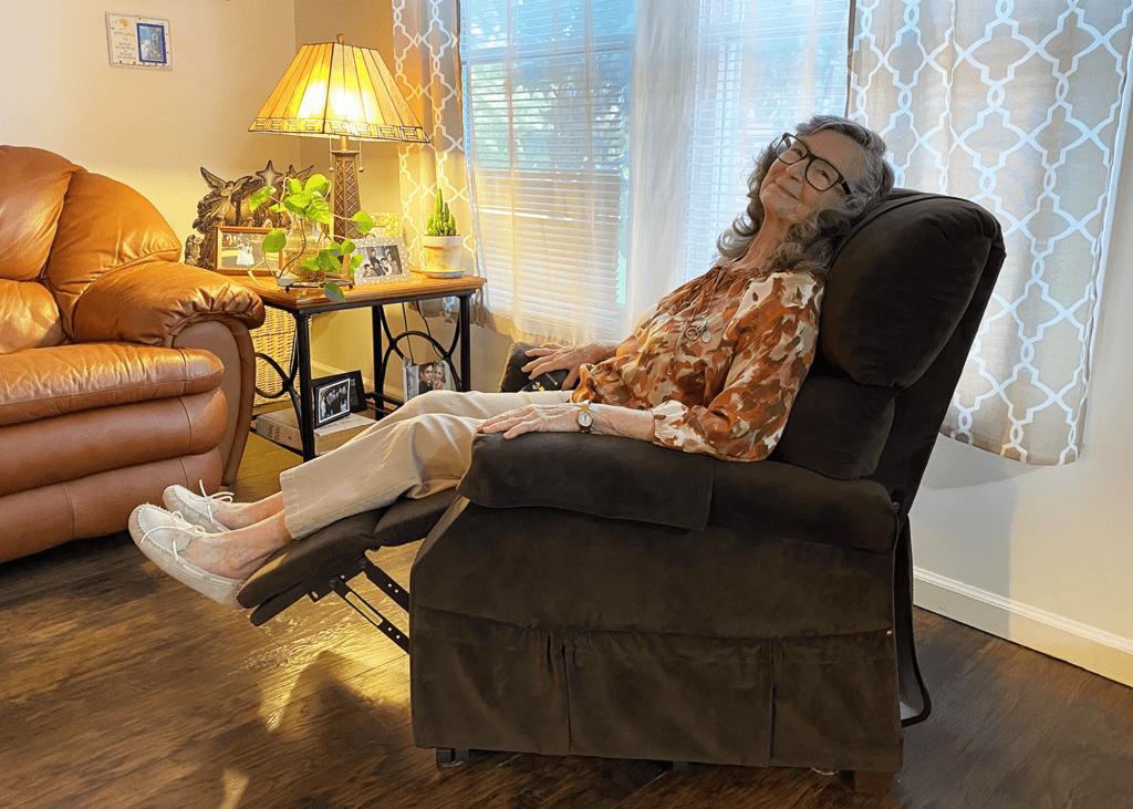 Joan Garrison in a Golden Technologies Power Lift Chair Recliner To Help Relieve Arthritis